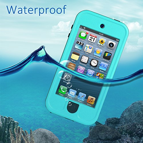 Waterproof Case for iPod 5 iPod 6, Meritcase Waterproof Shockproof Dirtproof Snowproof Case Cover with Kickstand for Apple iPod Touch 5th/6th Generation for Swimming Diving Surfing Snorkeling (Blue) by meritcase (Image #1)