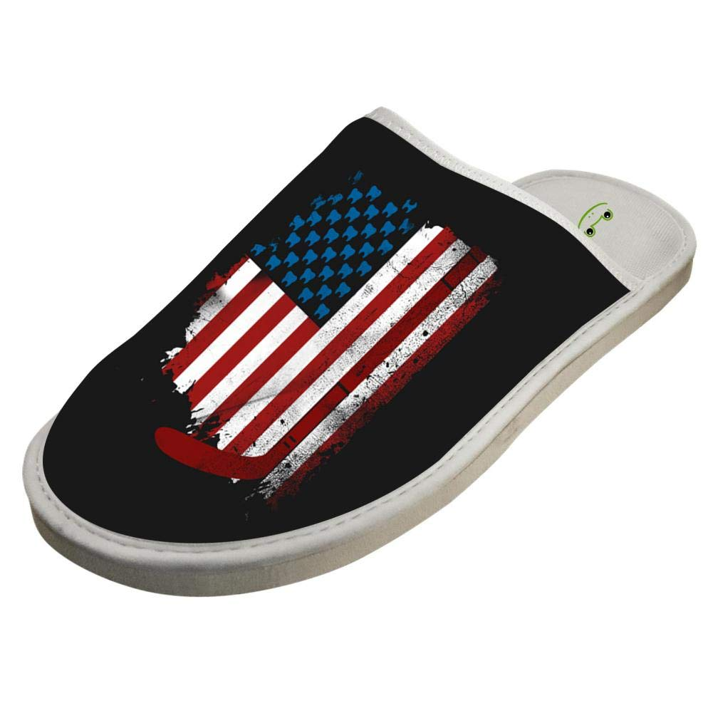 KOUY Hockey America Flag Design Closed Toe Cotton Slippers Warm Soft Indoor Shoes Non-watertight