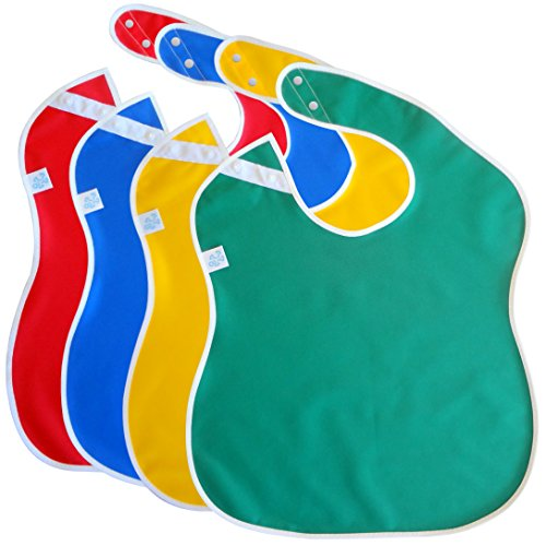 Toppy Toddler Large Waterproof Baby Bibs. Better Snap Buttons. Bib Easily Wipes Clean! Gift Set Sizes for Girls and Boys, Feeding Ages 18-48 Months (4-Pack/Red, Blue, Green, Yellow) ()