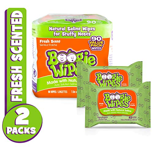 (Boogie Wipes Soft Natural Saline Wet Tissues for Baby and Kids Sensitive Nose, Hand, and Face with Moisturizing Aloe, Chamomile, and Vitamin E, Fresh Scent, 45 Count (Pack of 2))