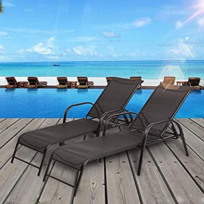 TANGKULA Patio Lounge Chairs Sling Chaise Lounges Recliner Patio Furniture W/Adjustable Back (1)