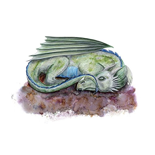 Sleeping Dragon Fantasy Nursery Decor, Green, Blue, Brown - Gender Neutral - Various Sizes - Usps Fees Customs