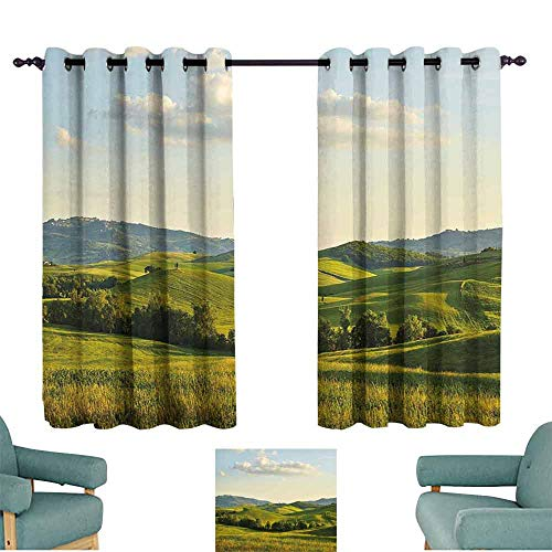 HCCJLCKS Bedroom Curtains 2 Panel Country Tuscany Hills Italy Meadow Greenery Pastoral Rural Scenery Farmland Scenic Soft Texture W63 xL72 Green Pale Blue