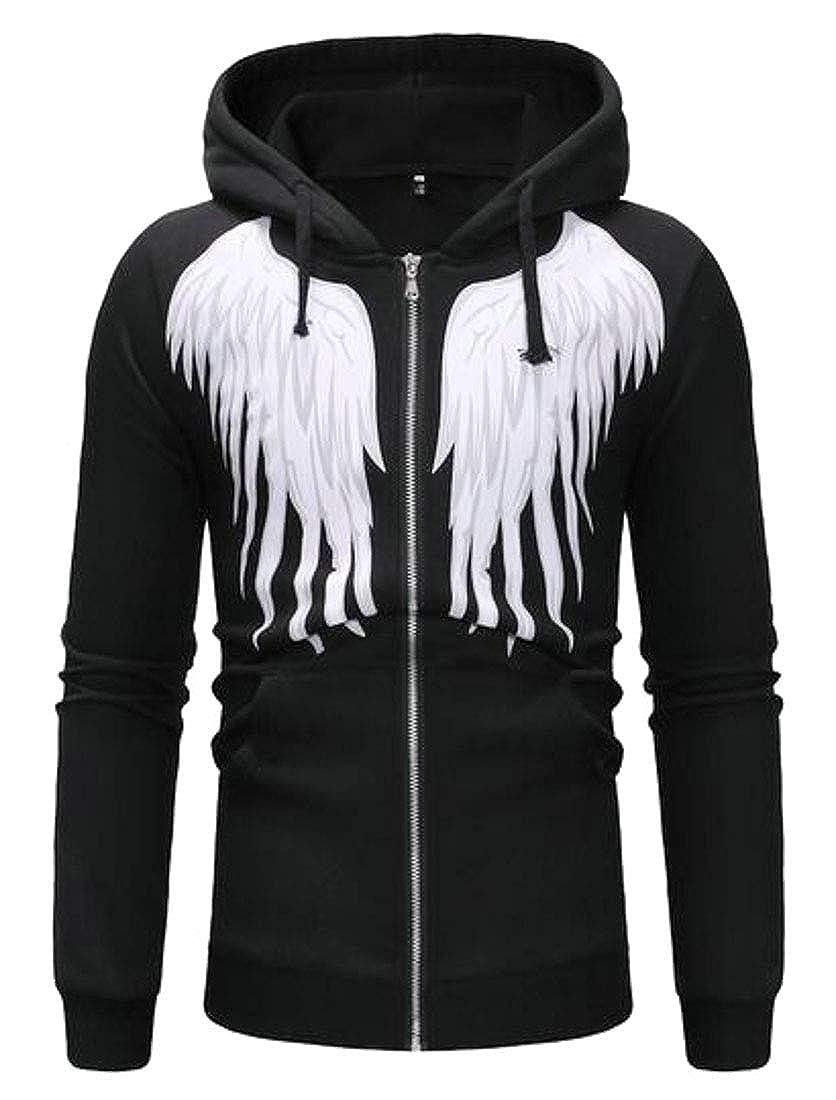 XiaoTianXinMen XTX Mens Casual Long Sleeve Wing Print Full-Zip Hoodies Sweatshirts Jacket Coat