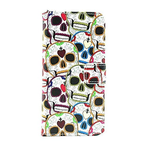 Monkey Cases® iPhone 6 4,7 Zoll - Flip Case - HAUS - TOTENKÖPFE - Premium - original - neu - Tasche - skull