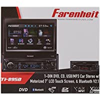 TI-895B - Farenheit In-Dash 1-DIN 7 Motorized Flip-Out LCD Touchscreen DVD/CD/USB Receiver with Bluetooth V3.0