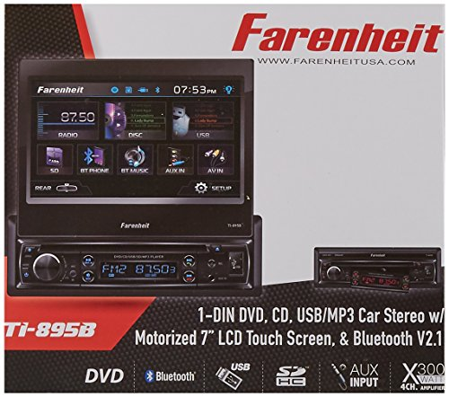 "TI-895B - Farenheit In-Dash 1-DIN 7"" Motorized Flip-Out L..."