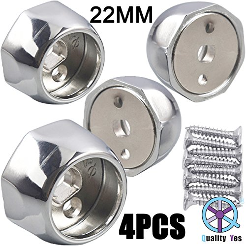 QY 4PCS All Zinc Alloy Wardrobe Pipe Tube Hanging Rod End Bracket Support Wall Mounted Flange Rail Holder Bracket for 22mm Diameter Tube