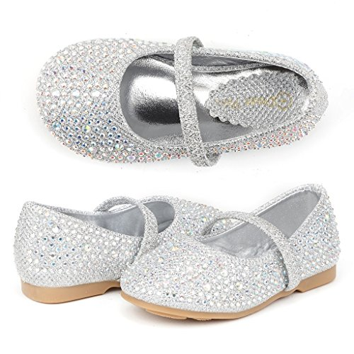 DREAM PAIRS Muy-Shine-Inf Mary Jane Girls Rhinestone Studded Slip On Ballet Flats Toddler New Silver Size - Flat Silver
