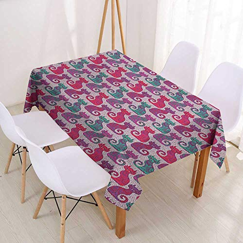 (Wendell Joshua Spill-Proof Table Cover Purple,Swirls and Curls Background with Damask Inspired Paisleys on The Ethnic Colorful Cat,Multicolor,Tablecovers for Rectangle Tables 52