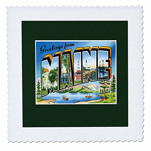 (3dRose qs_170077_3 Greetings from Maine Scenic Postcard with Lake and Canoes-Quilt Square, 8 by 8-Inch)
