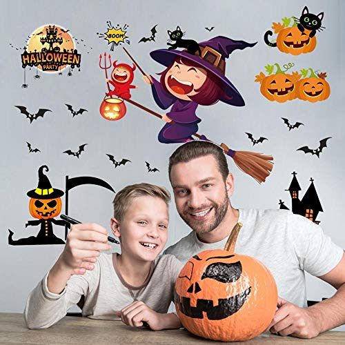 Rumas Happy Halloween Wall Murals for Kids Room - Art DIY Wall Decals Halloween Decoration - Witch & Pumpkin Wall Stickers Decor for Living Room Bedroom Office Kindergarten (Multicolor)