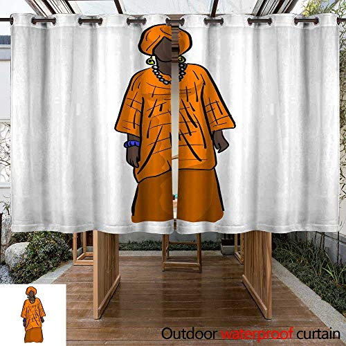 (RenteriaDecor Outdoor Curtains for Patio Waterproof Woman with Orange African Local Costume Vector Illustration Sketch Doodle Hand Drawn with Black Lines Isolated on White W55 x)