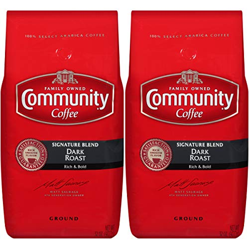 Community Coffee Signature Blend Dark Roast Premium Ground 32 Oz Bag (2 Pack), Full Body Rich Bold Taste, 100% Select Arabica Coffee Beans