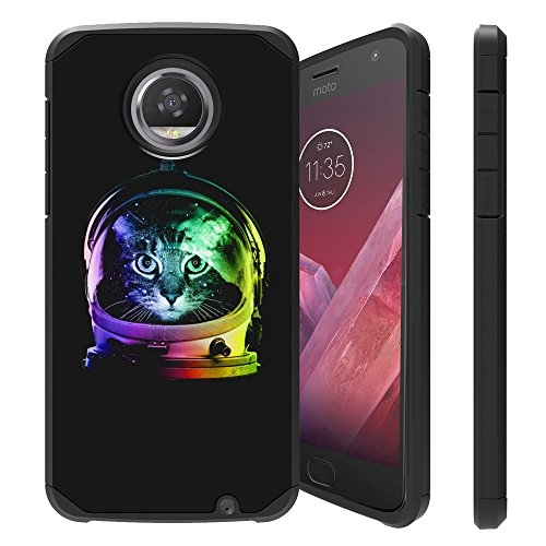Untouchble Case for Moto Z2 Force, Motorola Moto Z2 Play Cover [Shock Bumper Case] Combat Shockproof Dual Layer Hybrid Case Cover with Kickstand - Space Cat