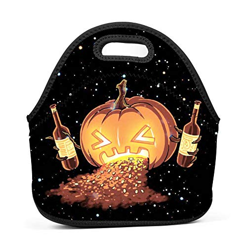 Halloween Pumpkin Ale Fashionable Printed Neoprene Lunch Bag Insulated Lunch Box for Women/Men/Kids/Girls and Boys -