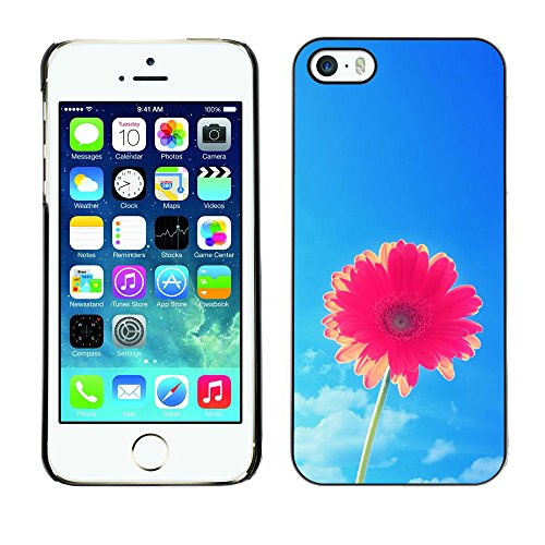 Ziland / Premium Slim HD plastique et d'aluminium Coque Cas Case Drapeau Cover / Flower Pink Sky Blue Pretty / Apple iPhone 5 / 5S