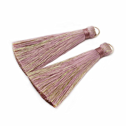 CHENGRUI 7.7CM Golden Loop Silk Tassels For Jewelry Making,Diy,Jewelry Accessories,Pack Of 6 Pcs (Silk Tassel)