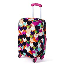 Artone Colorful Loving Heart Washable Spandex Travel Luggage Protector Baggage Suitcase Cover Fit 20 Inch Luggage