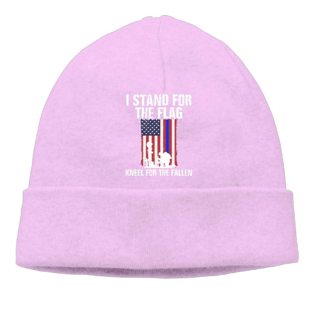 I Stand for The Flag Kneel for The Fallen Beanie Knit Hats Ski Cap Men Pink