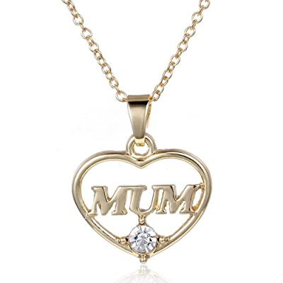 HUAMING Fashion Gold Chain Mum Letter Heart Pendent Necklace Dainty Necklace Jewelry for Women Beautiful Accessories (Gold): Jewelry