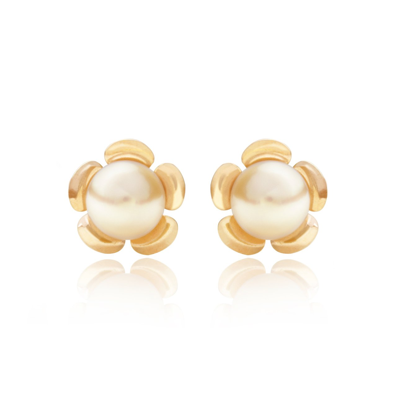 1b015d1dd 9ct yellow gold 3.5mm cultured pearl rose Andralok stud earrings / Gift box:  Amazon.co.uk: Jewellery