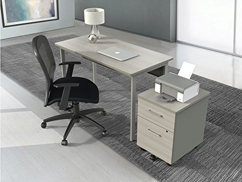 Easy to Assemble Desk for Office - Computer Desk in Grey / Gray Laminate Wood & Steel - Writing table for Students // Modern design // By Linea Italia by 7128207760336