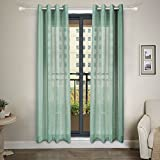 NordECO Sheer Curtain Panels Window Curtains Drapes Treatments for Living Room, 2 Panels, 53″ x 84″, Light Green