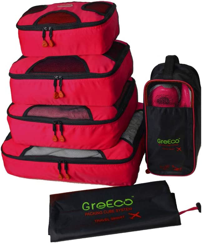 GreEco 4 Pcs Packing Cubes Plus 1 Pc Laundry Bag and 1 Pc Shoe Bag Red