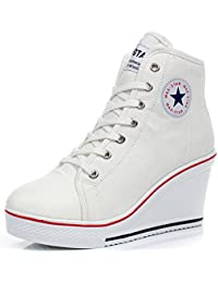 High Heel Sneaker, Canvas Lace up Fashion Shoes High Top Wedges Casual Sneaker