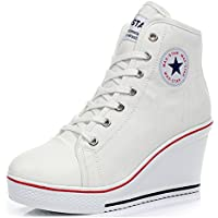 Padcod High Heel Sneaker, Canvas Lace up Fashion Shoes High Top Wedges Casual Sneaker