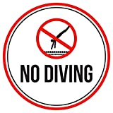 No Diving Swimming Pool Spa Warning Round Sign, Metal - 12 Inch