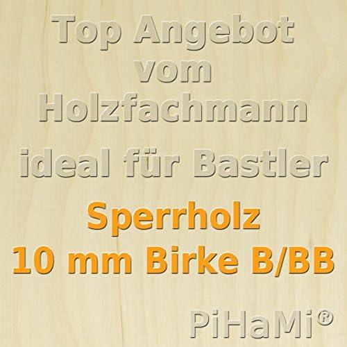 GP 23,93 /€ pro m/² 50 x 30cm PiHaMi/® 10 mm Birke Sperrholzplatte Qualit/ät B//BB