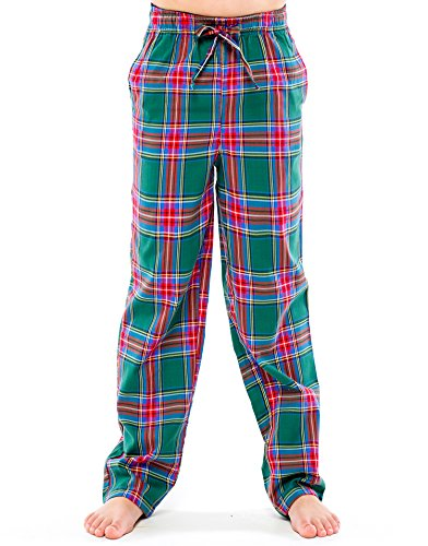 TINFL Boys Plaid Check Soft 100% Cotton Lounge Pants BP-62-Green-YM
