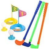Set of Golf Toy,Hmane Set of Plastic 3 Golf Putter Club 2 Balls 2 Putting Cup 2 Flags 2 Tees Kids Toy - Color Random