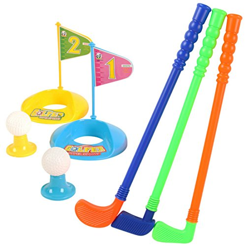 - HMANE Set of Golf Toy, Set of Plastic 3 Golf Putter Club 2 Balls 2 Putting Cup 2 Flags 2 Tees Kids Toy - Color Random