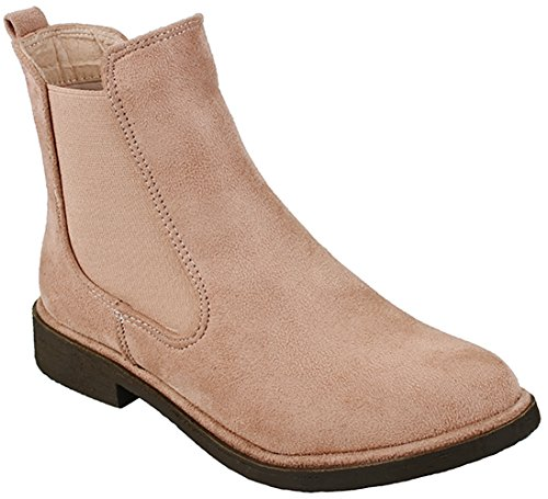 Suede Low Ankle Heel Shoes Mauve Gore Women Elastic Western High Chelsea On JJF Faux Slip Booties wRaqIA