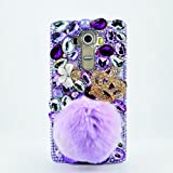 LG G Stylo Case, LU2000 3D Pompom Crystals Sparkle Jeweled [Crown Series] Bling Fur Phone Case Cover for LG G Stylo AT&T Verizon & Sprint T-Mobile - Villus Flowers/Pompom