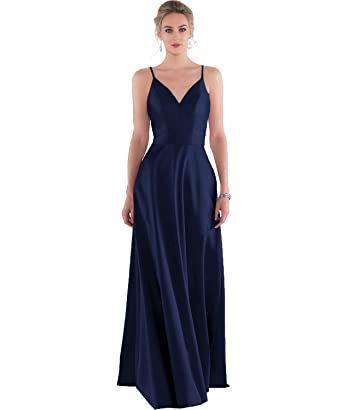 47e7cf61cb7 Women s Spaghetti Straps A Line Deep V-Neck Satin Bridesmaid Dress Long  Formal Prom Evening