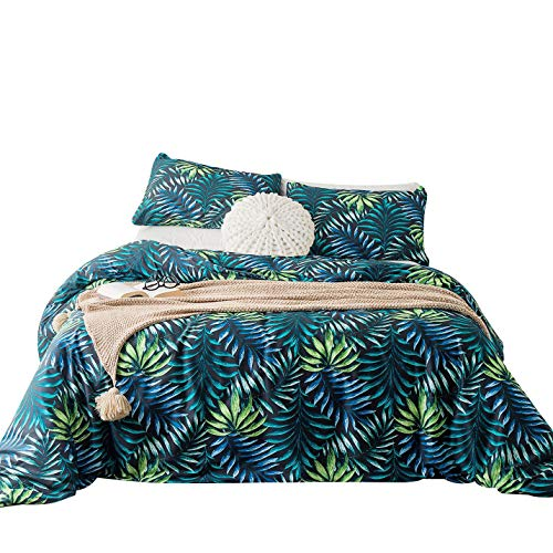 Bed King Island (SUSYBAO 3 Piece Duvet Cover Set 100% Natural Cotton King Size Green Blue Tropical Botanical Bedding Set with Zipper Ties 1 Jungle Leaves Print Duvet Cover 2 Pillowcases Hotel Quality Soft Comfortable)