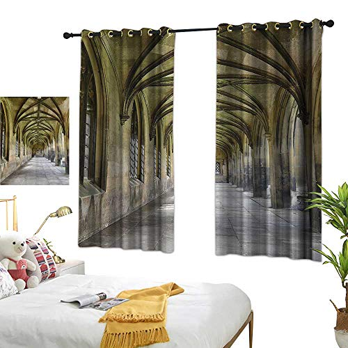 Decor Curtains Apartment Decor Collection Paved Stone Walkway with Gothic Arches Receding Into Distance Arched Windows Portals Darkening and Thermal Insulating 63