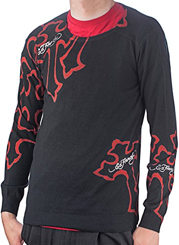 Ed Hardy Mens Panther Cross Crew Neck Sweater - Black - (Ed Hardy Men Sweater)
