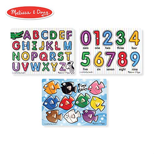 Melissa & Doug Classic Wooden Peg Puzzles, See-Inside Alphabet & Numbers, and Fish Mix & Match Colors, 3-Pack (Puzzles Doug And Melissa Baby)