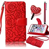 Apple iPhone 6 6s 4.7 Inch Case,Vandot 3in1 Set Luxury PU leather Flip Stand Magnetic Closure Camellia Flower Wallet Bumper Case Anti-scratch Shock-Absorption Cover Pattern+Detachable Wrist Strap+Diamond Love Heart Anti Dust plug+stylus pen -Red