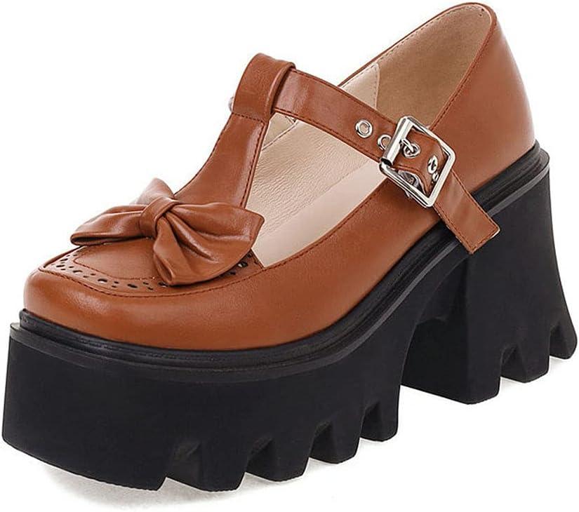 Lolita Zapatos Mary Jane Plataforma para Mujer con Lazos Correa En T Zapatos De Cosplay Gótica Tacon Ancho 8.5cm