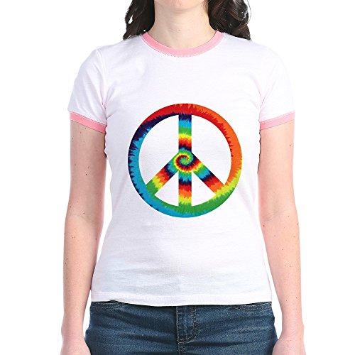 Royal Lion Jr. Ringer T-Shirt Tye Dye Peace Symbol - Pink/Salmon, (Dye Ringer)