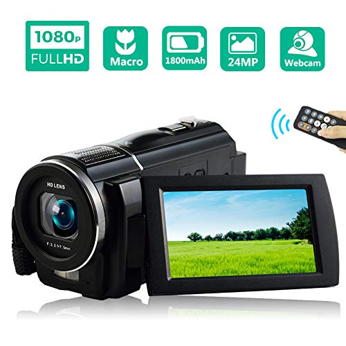 Video Camera Camcorder Full HD 1080P 30FPS Digital Video Camera Camcorder Macro Digital Camera 24MP Vlogging Camera with ()