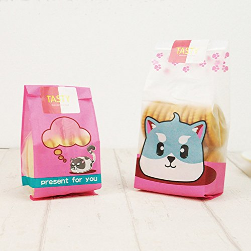 Felice Arts 100pcs Cute Cat Cookie Biscuit Candy Frosted Bags Translucent Plastic Bags for Bakery Party with 120pcs Pink&White Stickers by Felice Arts