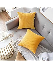 MUDILY Pack of 2, Fluffy Soft Striped Velvet Corduroy Decorative Square Throw Pillow Covers Set Cushion Cases Pillowcases for Sofa Bedroom Car Outdoor, Sunflower Yellow 20 x 20 inch
