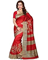 Shreeji Ethnic Women's Bhgalpuri Silk Ready Pleated Saree (Arpita Red Saree_Red)